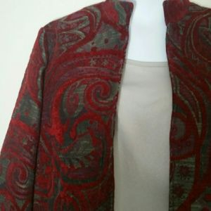 Coldwater Creek Red tapestry Blazer L